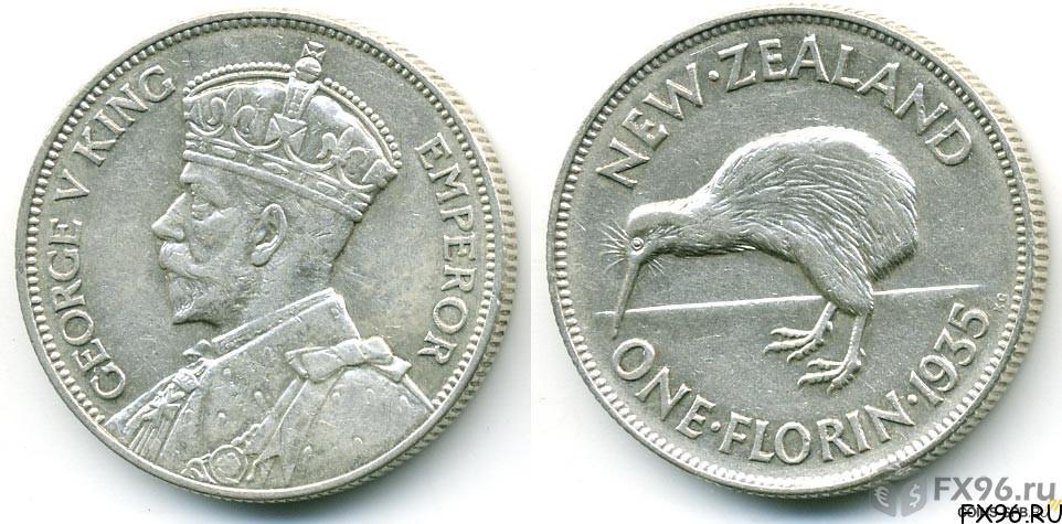 Серебряная монета Новой Зеландии 1 доллар